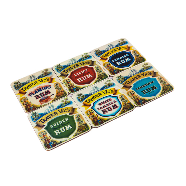 Vintage Rum Label Coasters (set of 6)