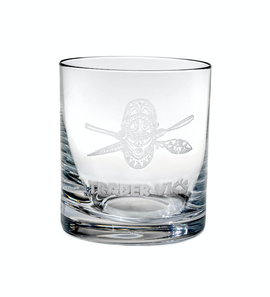 SHIELD AND OARS ETCHED ROCKS GLASS