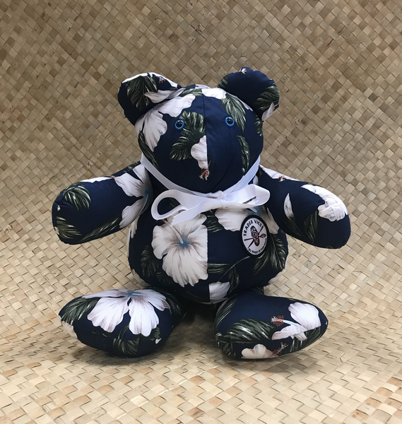 WHITE HIBISCUS ON NAVY BEAR