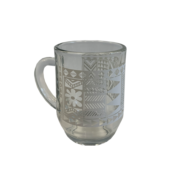 TAPA PATTERN GLASS MUG