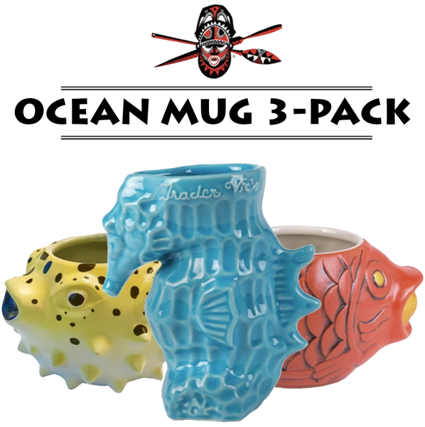 Whether you want to add more Tiki Mugs to your collection or even buy your friends/family a gift, this Tiki Mug 3-Pack features the following 3 mugs all in one big pack!  The Tiki Mug 3 Pack includes: - 1 Blowfish Mug - 1 Seahorse Mug - 1 Koi Mug  *Offer only available online*