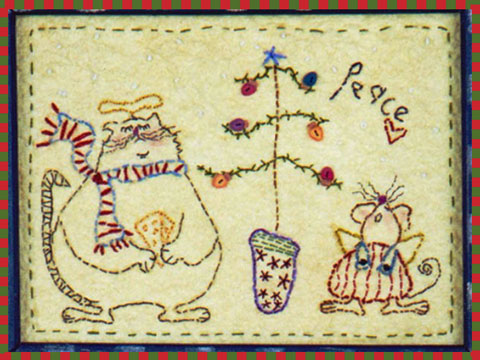 Cat and Mouse Christmas Stitchery - FREE PATTERN DOWNLOAD