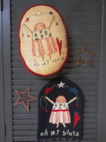 Oh My Stars Stitchery Pillow & Wall Hanging Pattern #RR183 - Kit Also Available