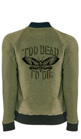 Too Dead to Die heathered fleece bomber jacket