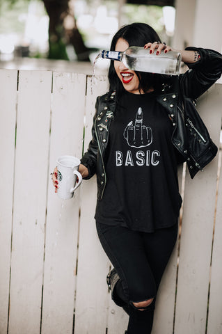 F! Basic black highneck tank
