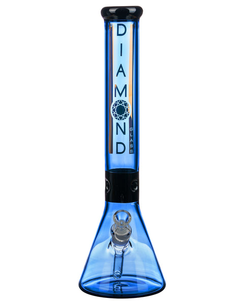 "Diamond Glass 15"" Black Collared Beaker Bong Blue"