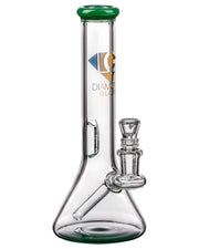 Diamond Glass Fixed Downstem Mini Beaker in Jade