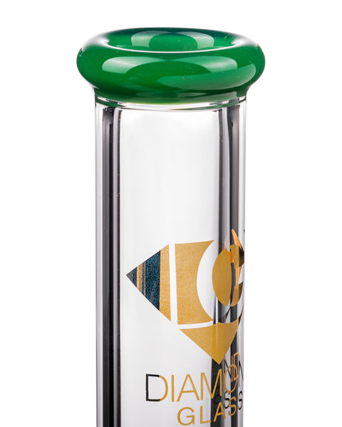 Diamond Glass Fixed Downstem Mini Beaker Mouthpiece Close Up