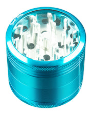 Teal 4-Piece Medium Diamond Teeth Clear Top Aluminum Grinder