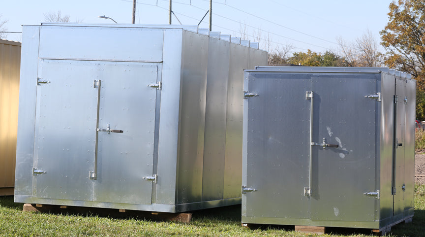 New full size storage containers.  Steel storage units the size of a shipping container.