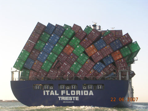 Shipping container collapse on caontainer ship