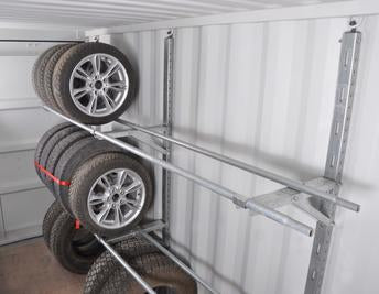 Tire rack for shipping container