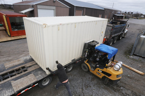Shipping container pickup from our Napanee container yard