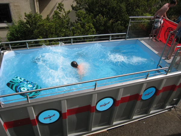 Swimming Pool Hot Tub built from 20ft shipping container.