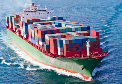loaded container ship at sea
