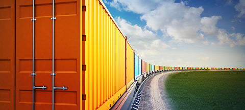shipping containers on a freight train