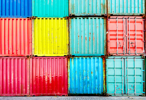 used shipping containers stacked