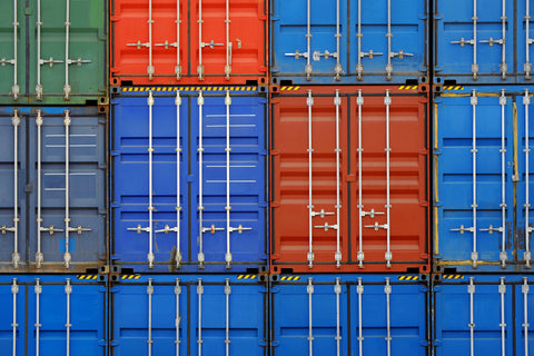 Shipping containers & seacans stacked