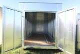 Double doors on 20ft galvanized seacan storage