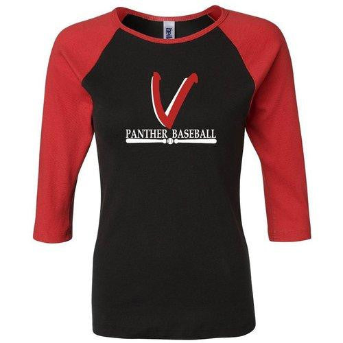 Vista Baseball Ladies Three Quarter Sleeve Tee