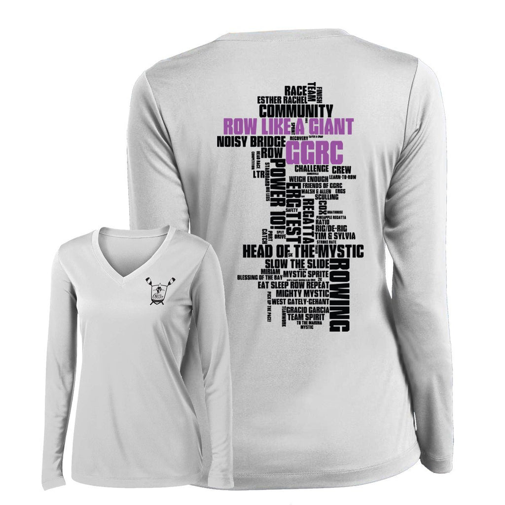 Custom Gentle Giant Rowing Club Word Cloud Long Sleeve Performance T-Shirt - Womens