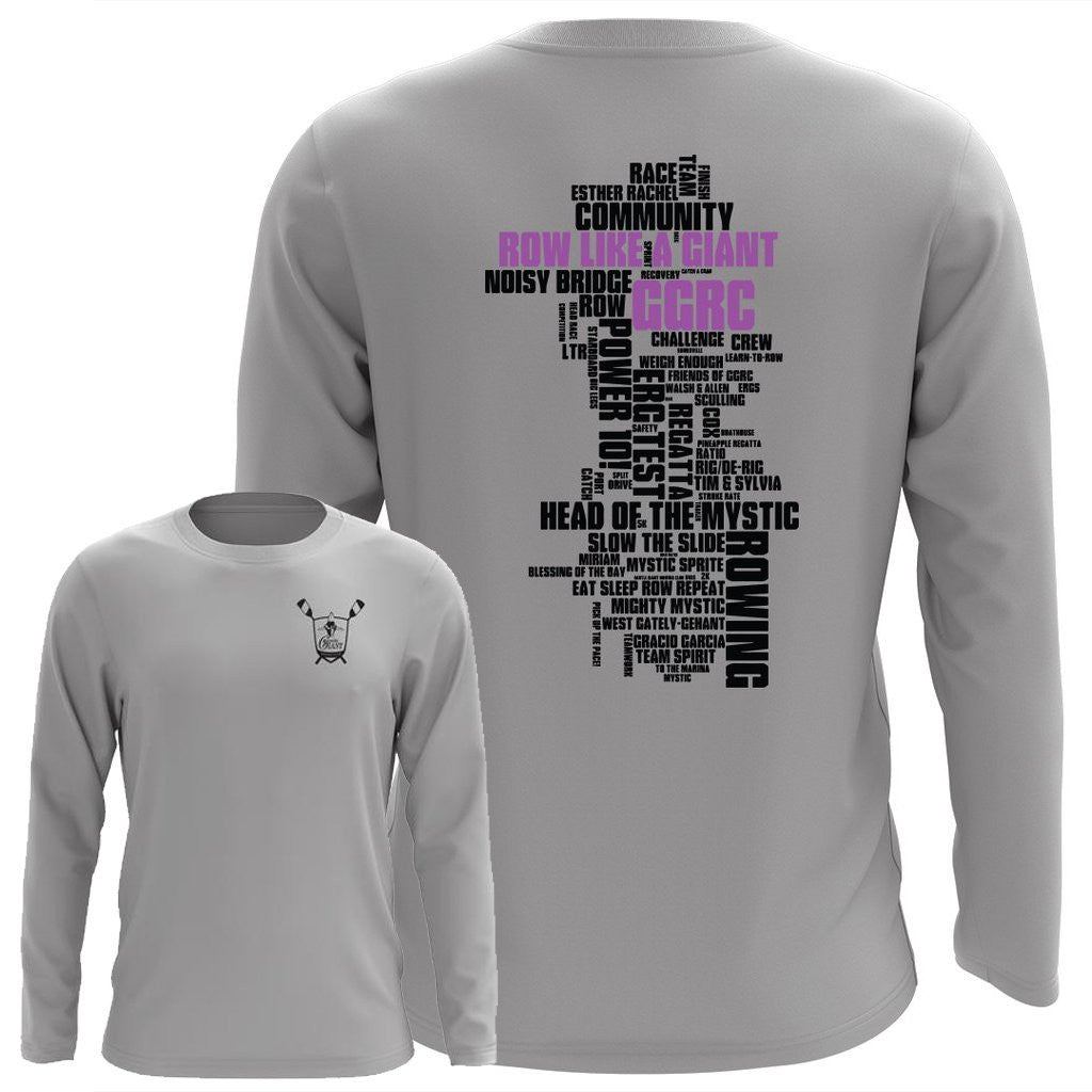 Custom Gentle Giant Rowing Club Word Cloud Long Sleeve Performance T-Shirt - Mens