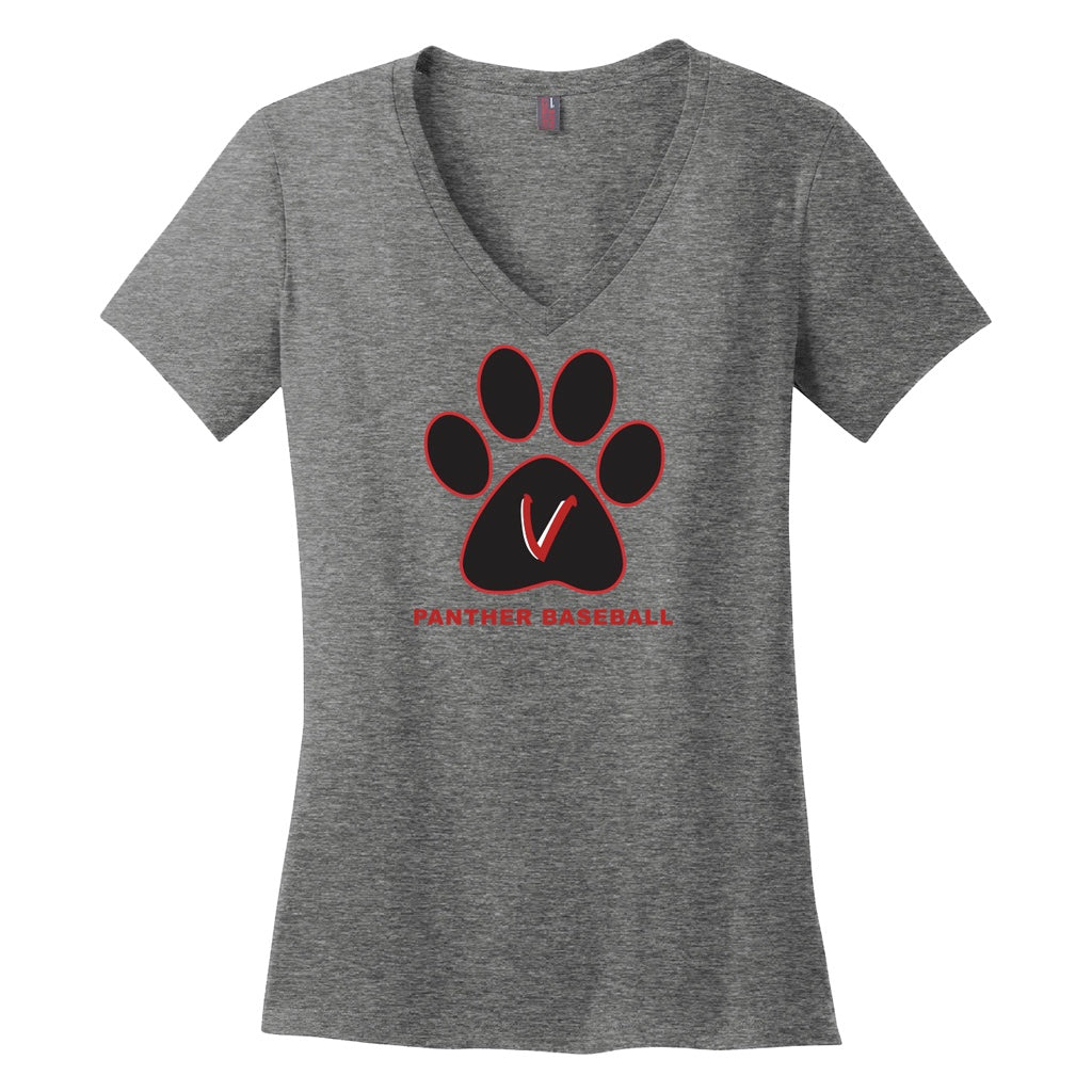Vista Baseball Women's Paw Print V-Neck Tee