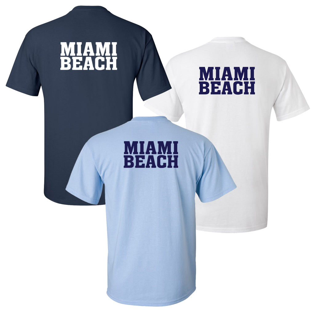 100% Cotton Miami Beach Men's Team Spirit T-Shirt
