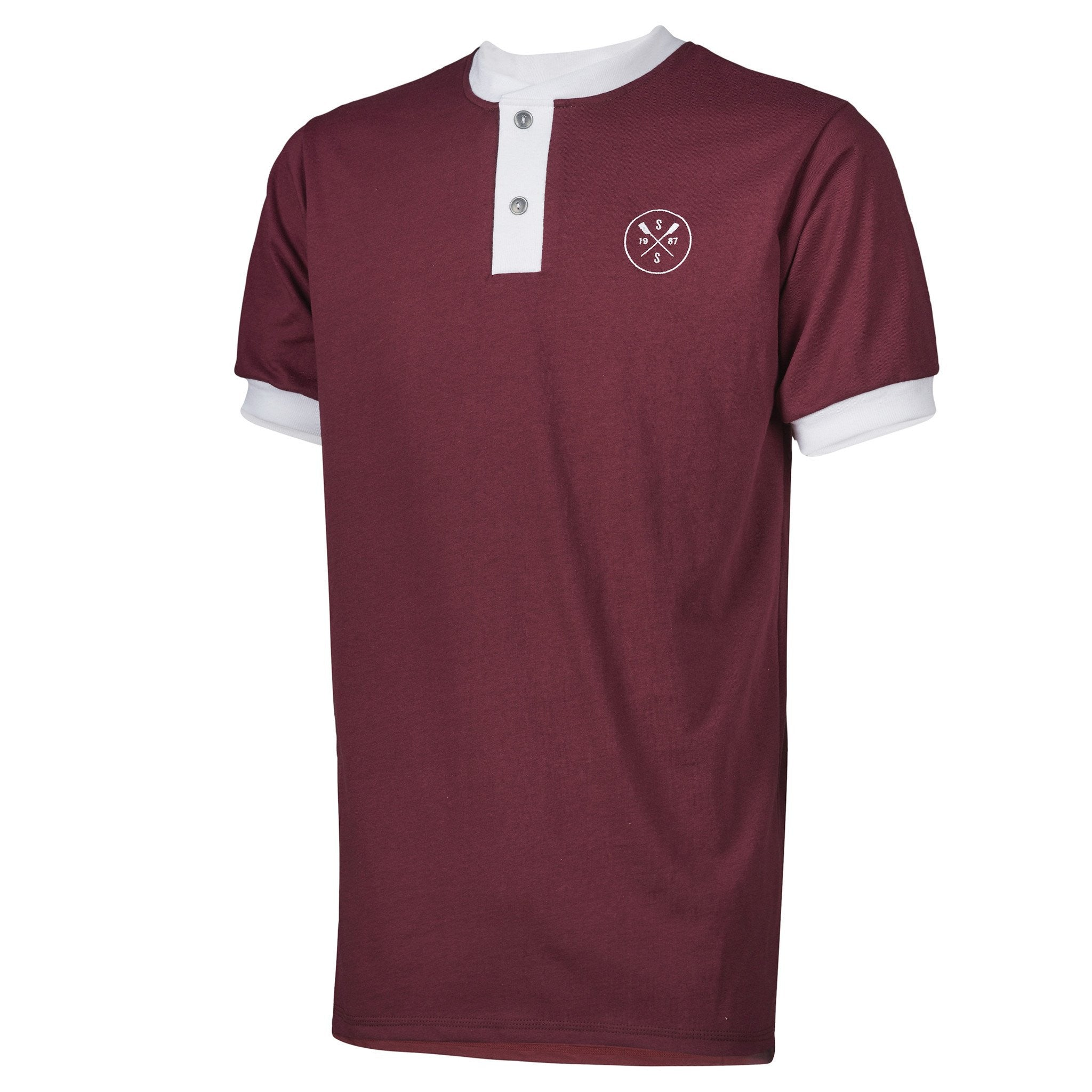 Sew Sporty Cotton Henley (Maroon)