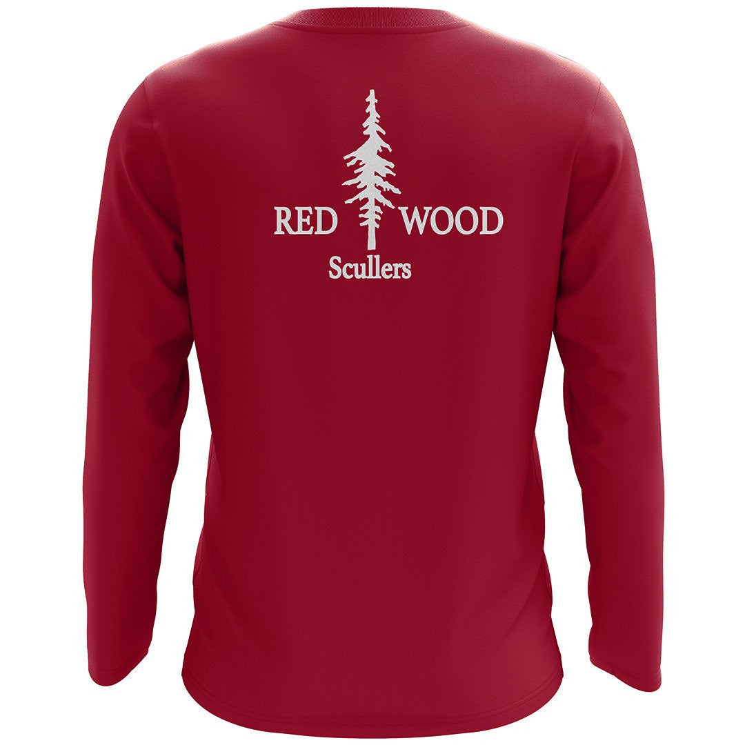 Redwood Scullers Cotton LS T-shirt- cardinal