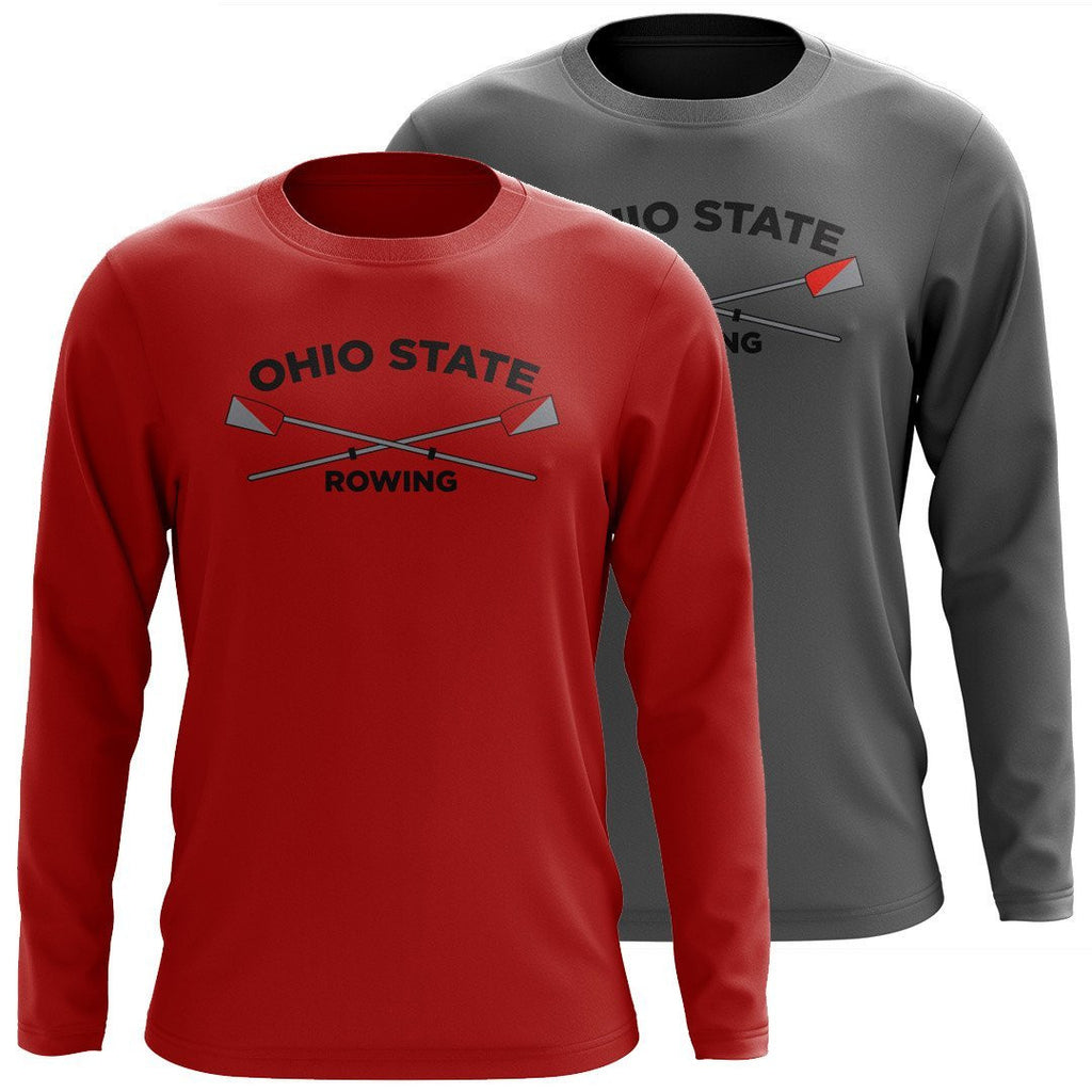 Custom Ohio State Rowing Long Sleeve Cotton T-Shirt