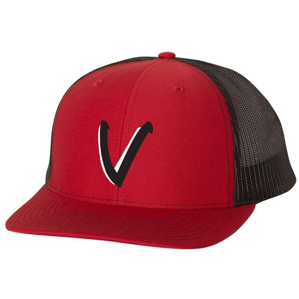 Vista Baseball Trucker Snapback Cap-Red/Black