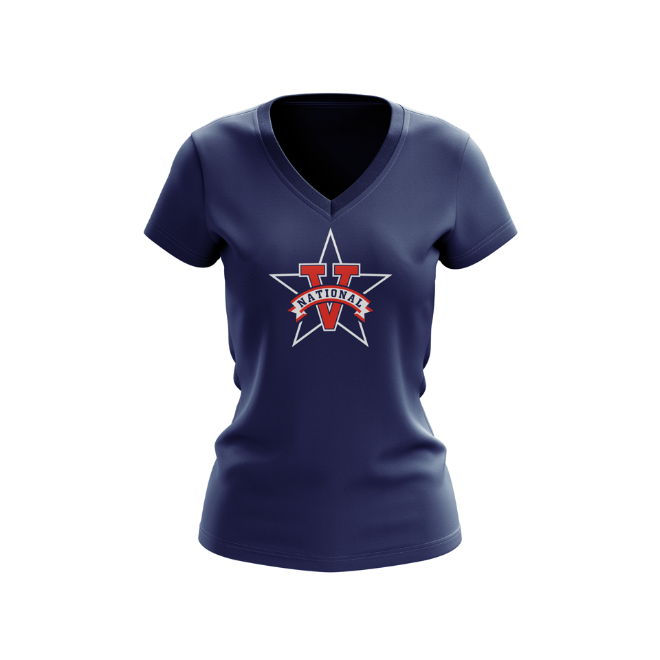 Womens V-Neck 100% Cotton Vista National Little League Team Spirit T-Shirt