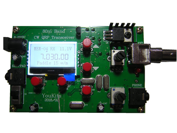 Youkits CW-40 single band 40 meter CW Morse Code transceiver assembled - Youkits