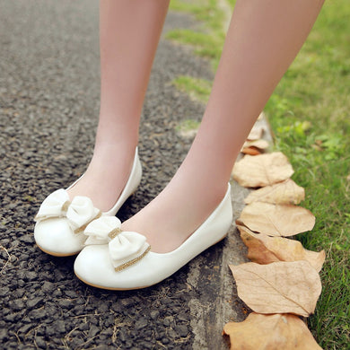 Round Toe Bow Women Flats Shoes Plus Size
