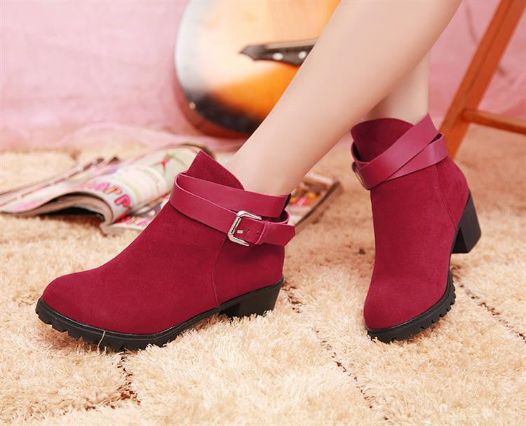 Buckle Ankle Boots Round Toe Artificial Suede High Heels Shoes Woman