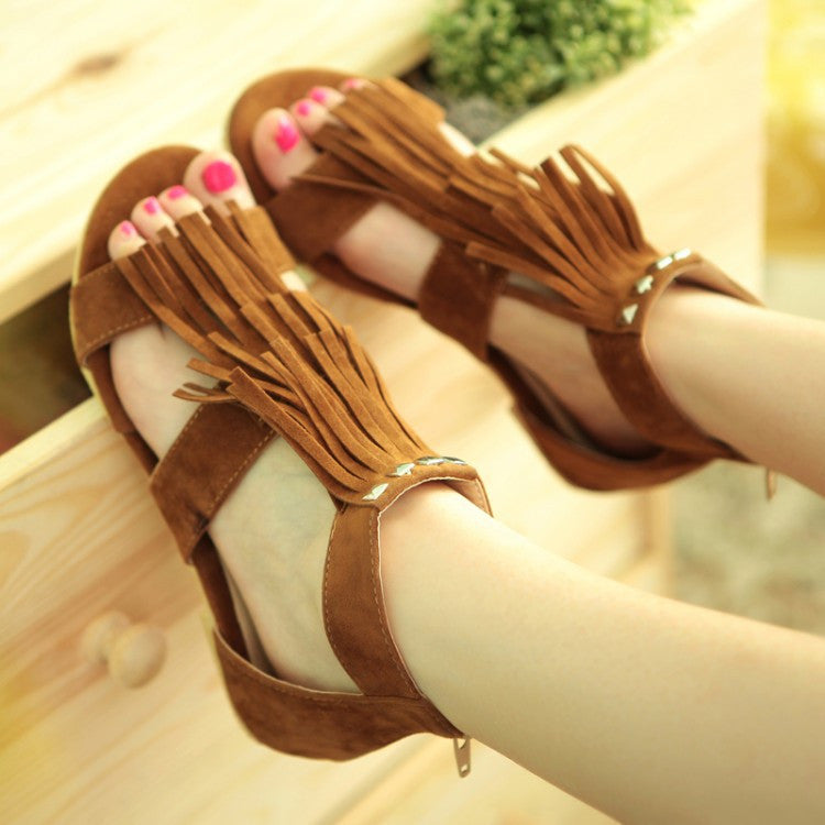 Studded Tassel Gladiator Sandals Flats Shoes 1617