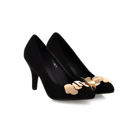 Metal Pumps High Heels Pointed Toe Spike Shoes Woman