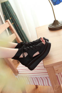 Platform Sandals Women Pumps Lace Up Black White Wedges Shoes Woman 3546