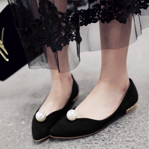 Pointed Toe Pearl Women Flat Shoes New 2016