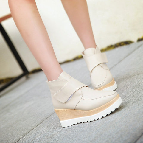 Velcro Ankle Boots Wedges Women Shoes Fall|Winter 11191501