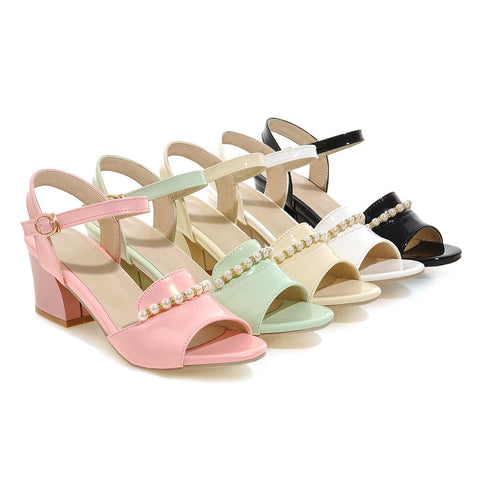 Ankle Strap Pearl Sandals Women Pumps Thick-heeled Shoes Woman