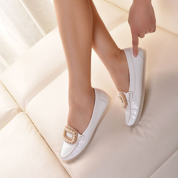 Women Flats Round Toe Pearl Ballet Shoes Loafers