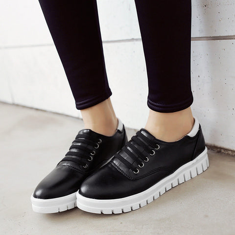 Women Flats Lace Up Sneakers Casual Shoes