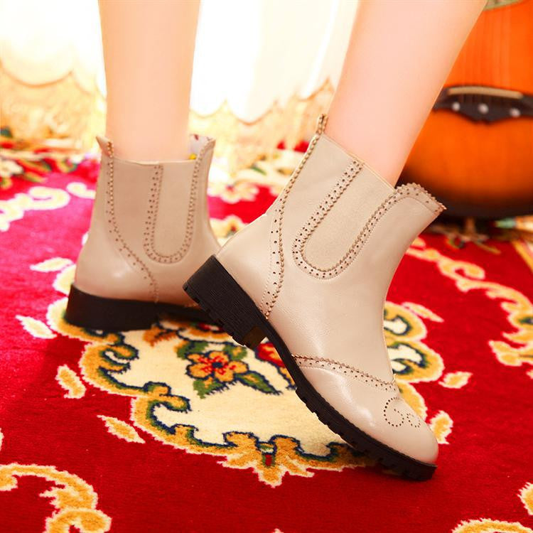 Round Toe Motorcycle Boots PU Leather Ankle Boots High Heels Shoes Woman 3343
