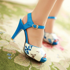 Floral Platform Sandals Ankle Straps Women Pumps High Heels Shoes Woman