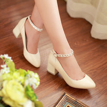 Load image into Gallery viewer, Women Pumps Ankle Straps Rhinestone Thick Heeled Pointed Toe Shoes Woman 3576