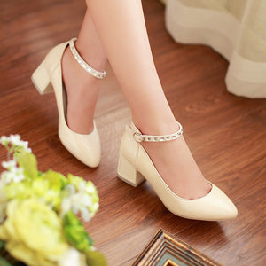 Women Pumps Ankle Straps Rhinestone Thick Heeled Pointed Toe Shoes Woman 3576