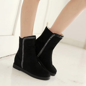 Rhinestone Ankle Boots Women Flats Shoes Fall|Winter