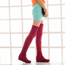 Load image into Gallery viewer, Elastic Faux Suede Over the Knee Boots Women 9166